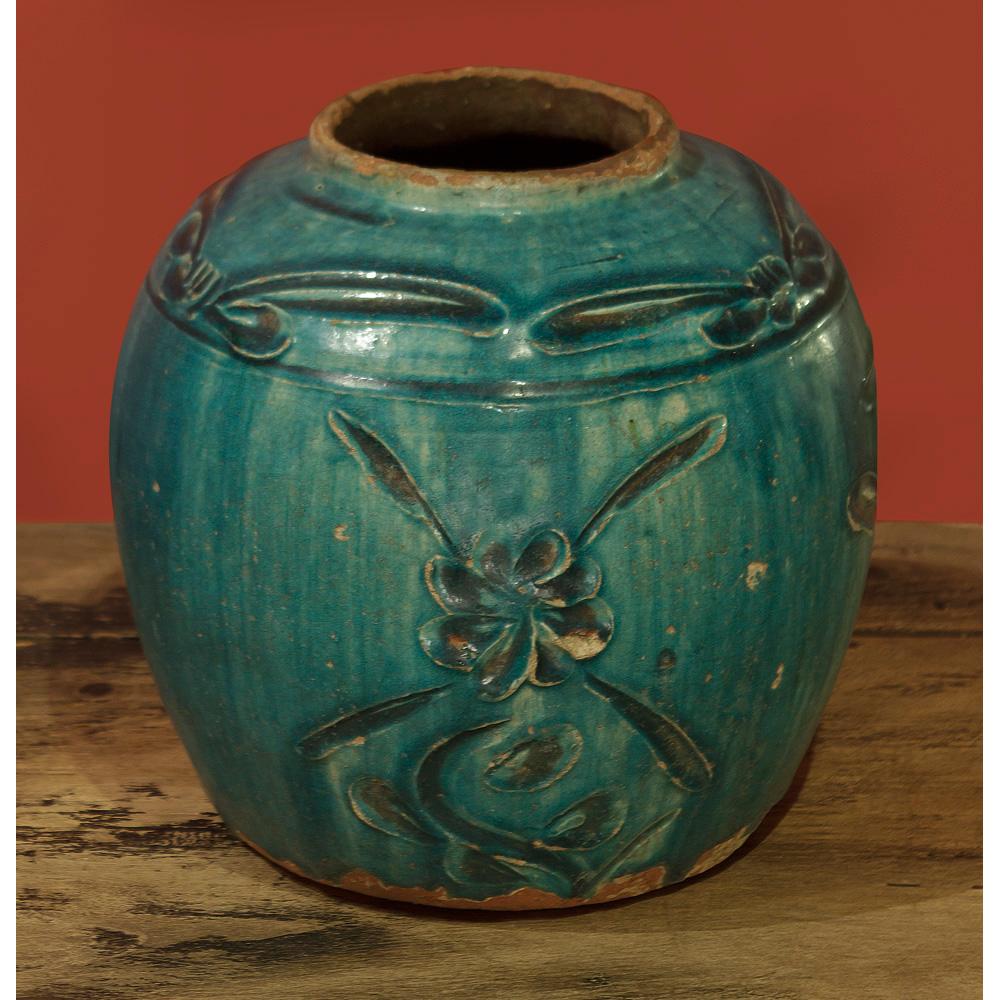 Antique Turquoise Shan Xi Village Oriental Ceramic Jar