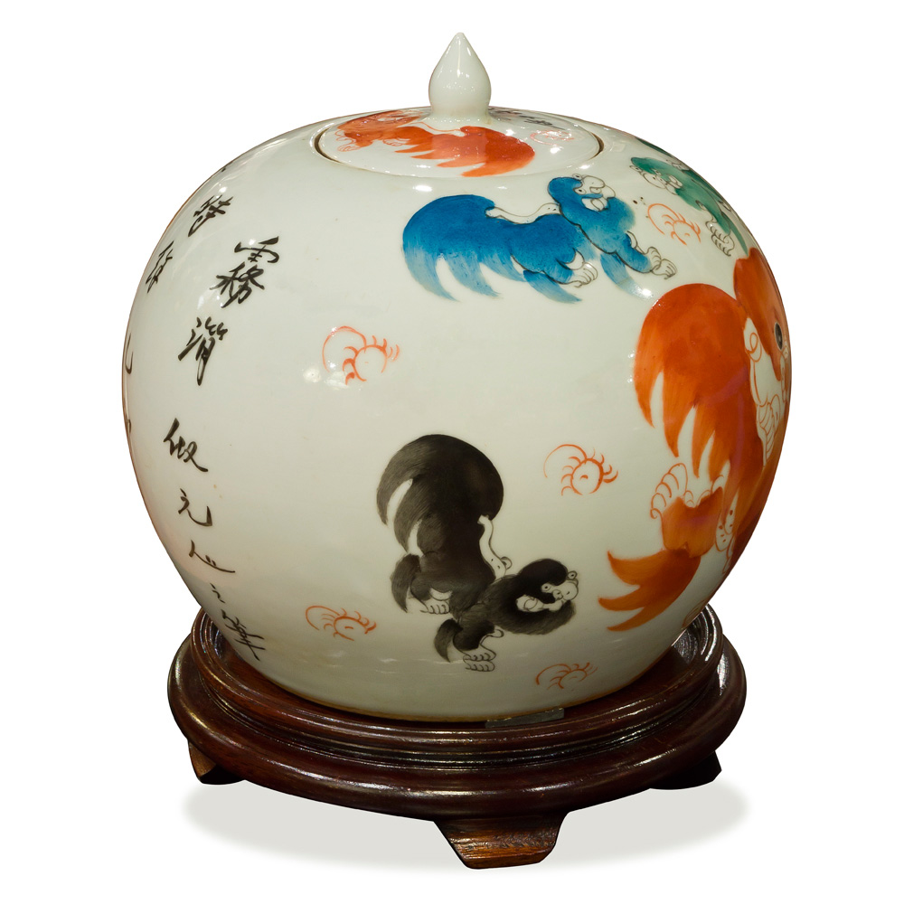 White Porcelain Oriental Jar with Peking Foo Dogs