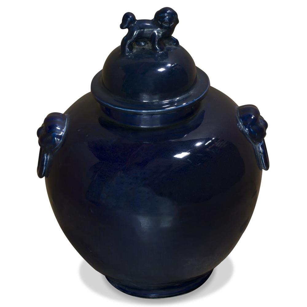 Vintage Indigo Ceramic Foo Dog Oriental Jar