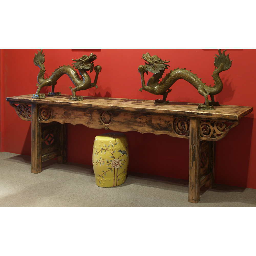 Grand Distressed Elmwood Ming Console Table