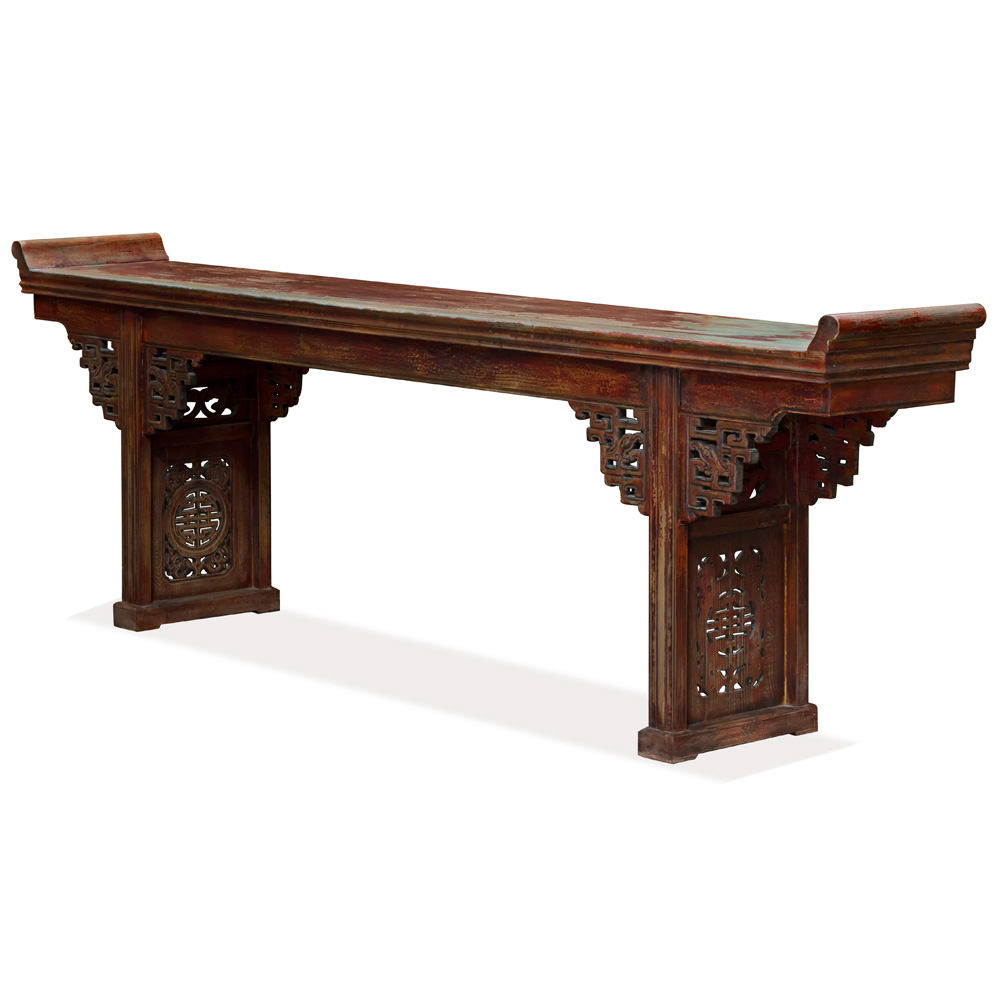 Vintage Grand Elmwood Altar Console Table