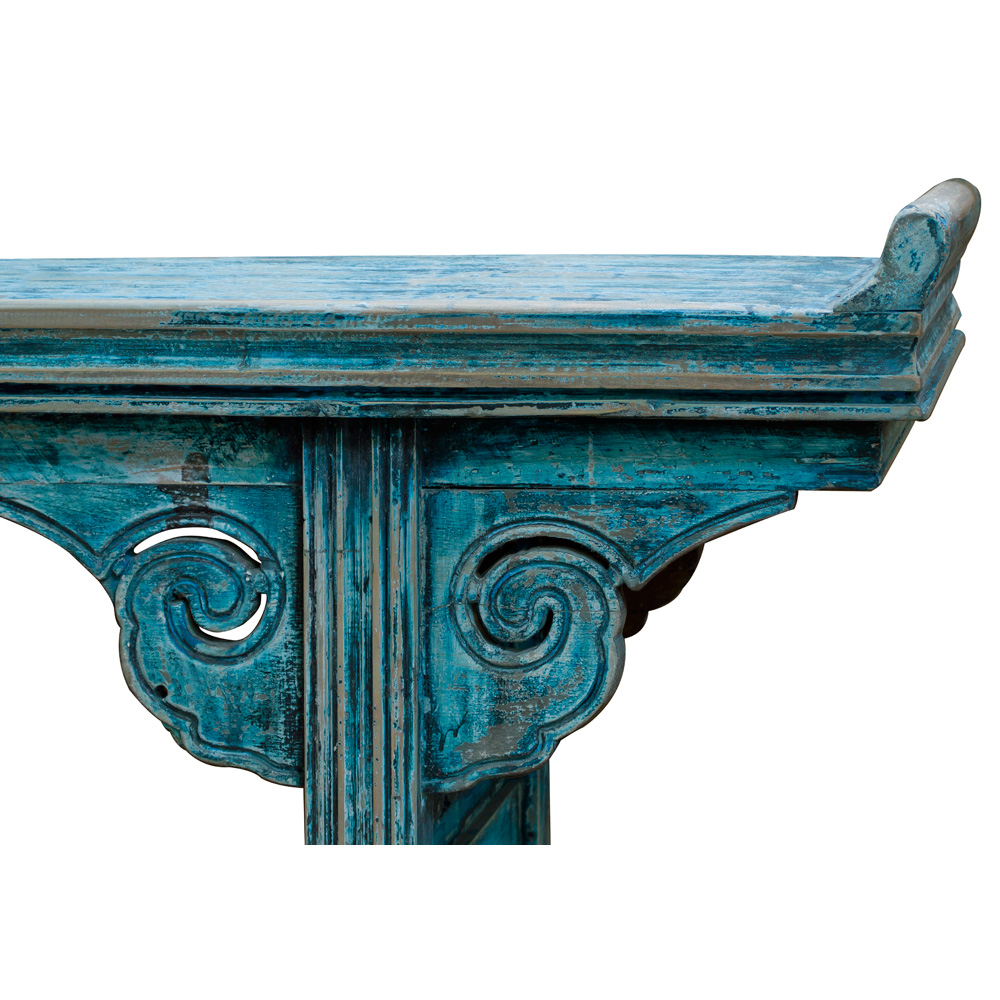 Vintage Blue Elmwood Asian Altar Console Table