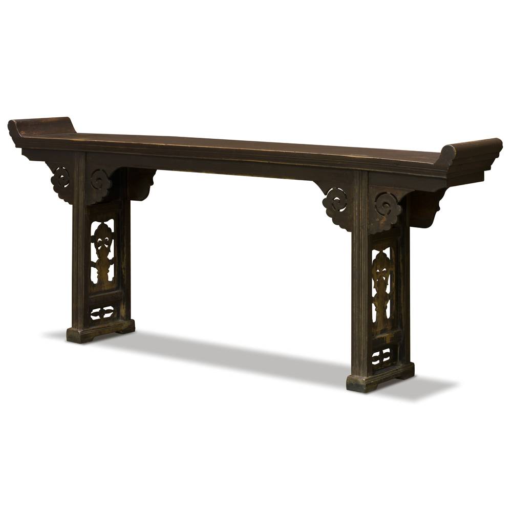 Vintage Elmwood Oriental Altar Console Table