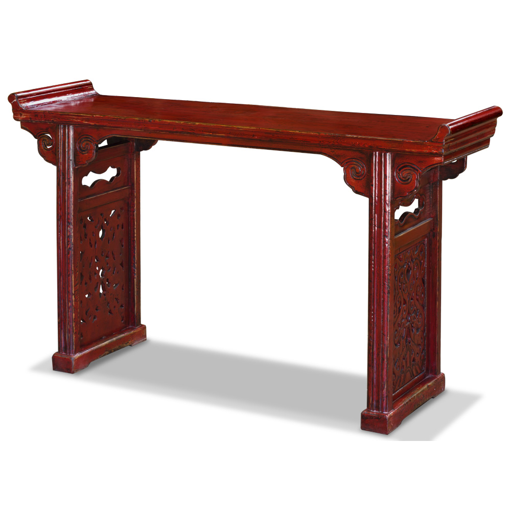 Vintage Red Elmwood Cloud Altar Oriental Console Table