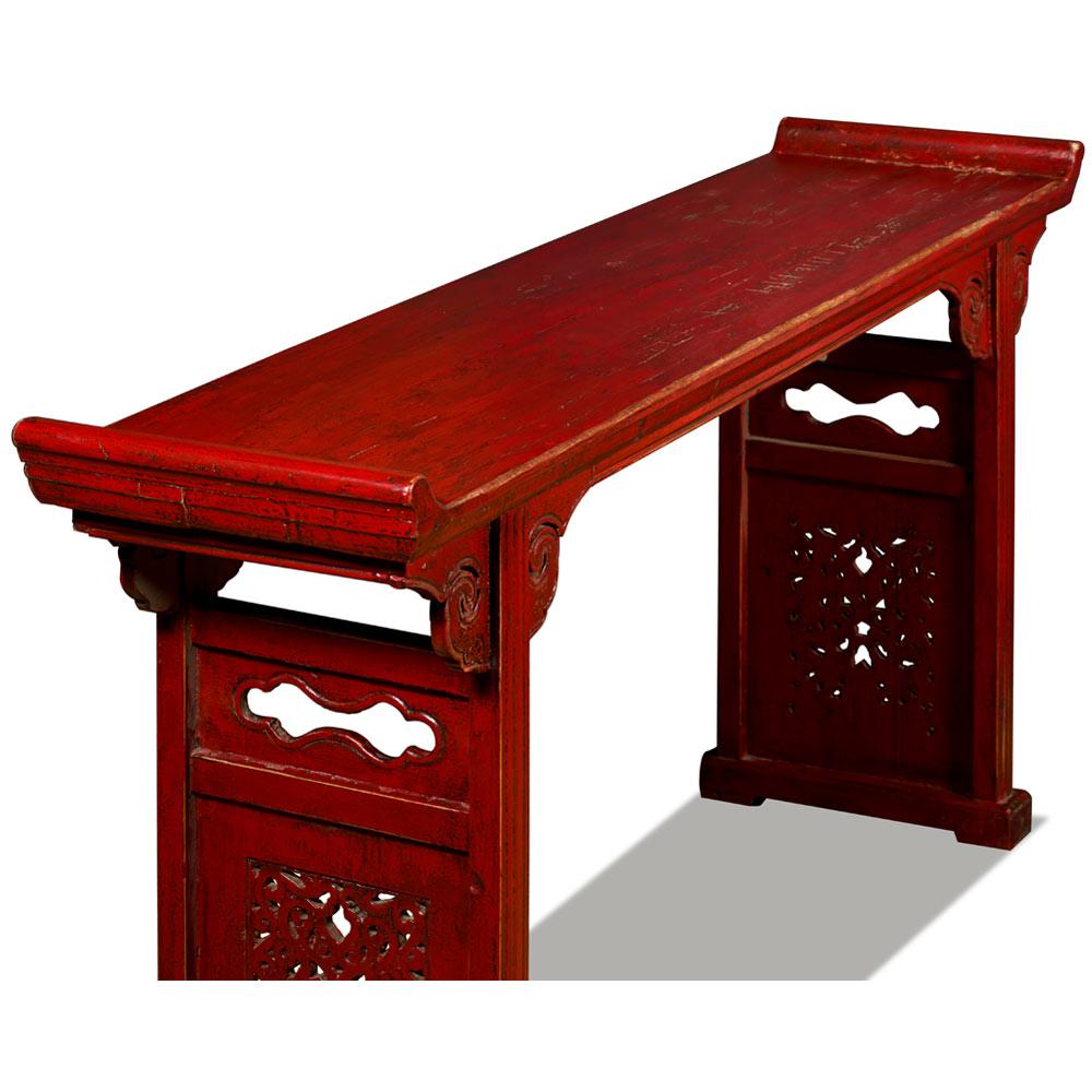 Vintage Red Elmwood Cloud Oriental Altar Console Table