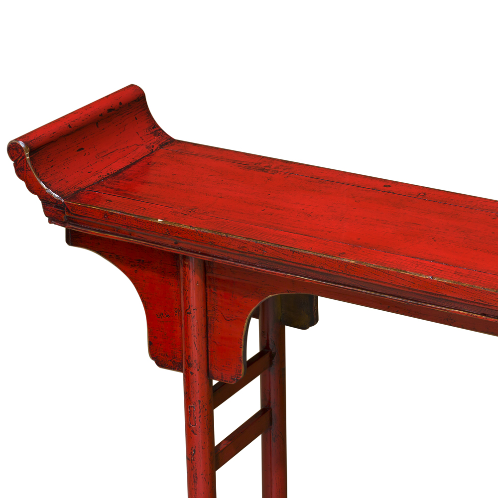 Distressed Red Elmwood Oriental Altar Style Console Table
