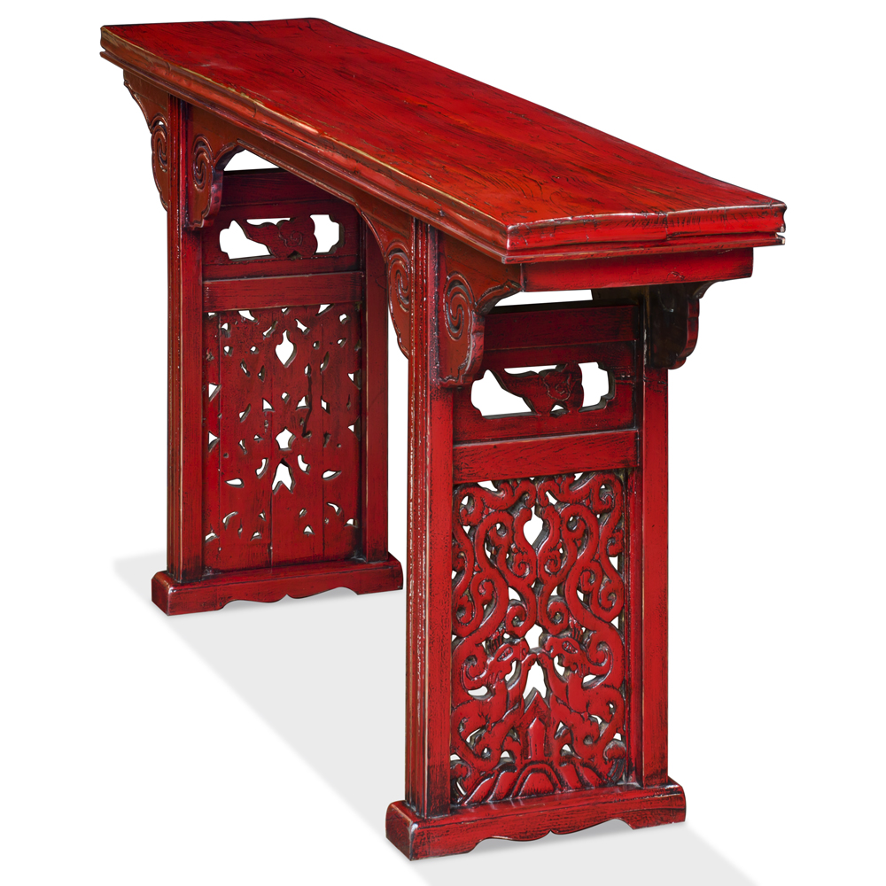 Distressed Red Elmwood Altar Style Console Table