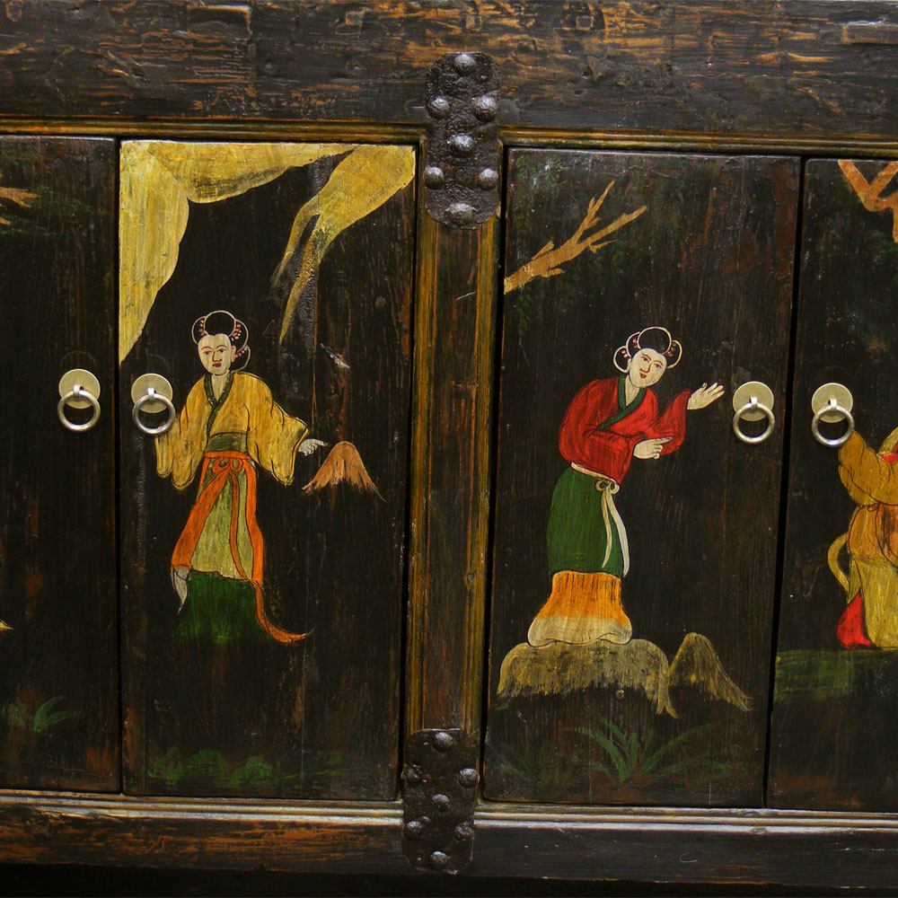 Hand-Painted Vintage He-Bei Cabinet