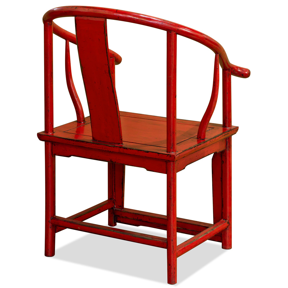 Distressed Red Elmwood Ming Arm Chair