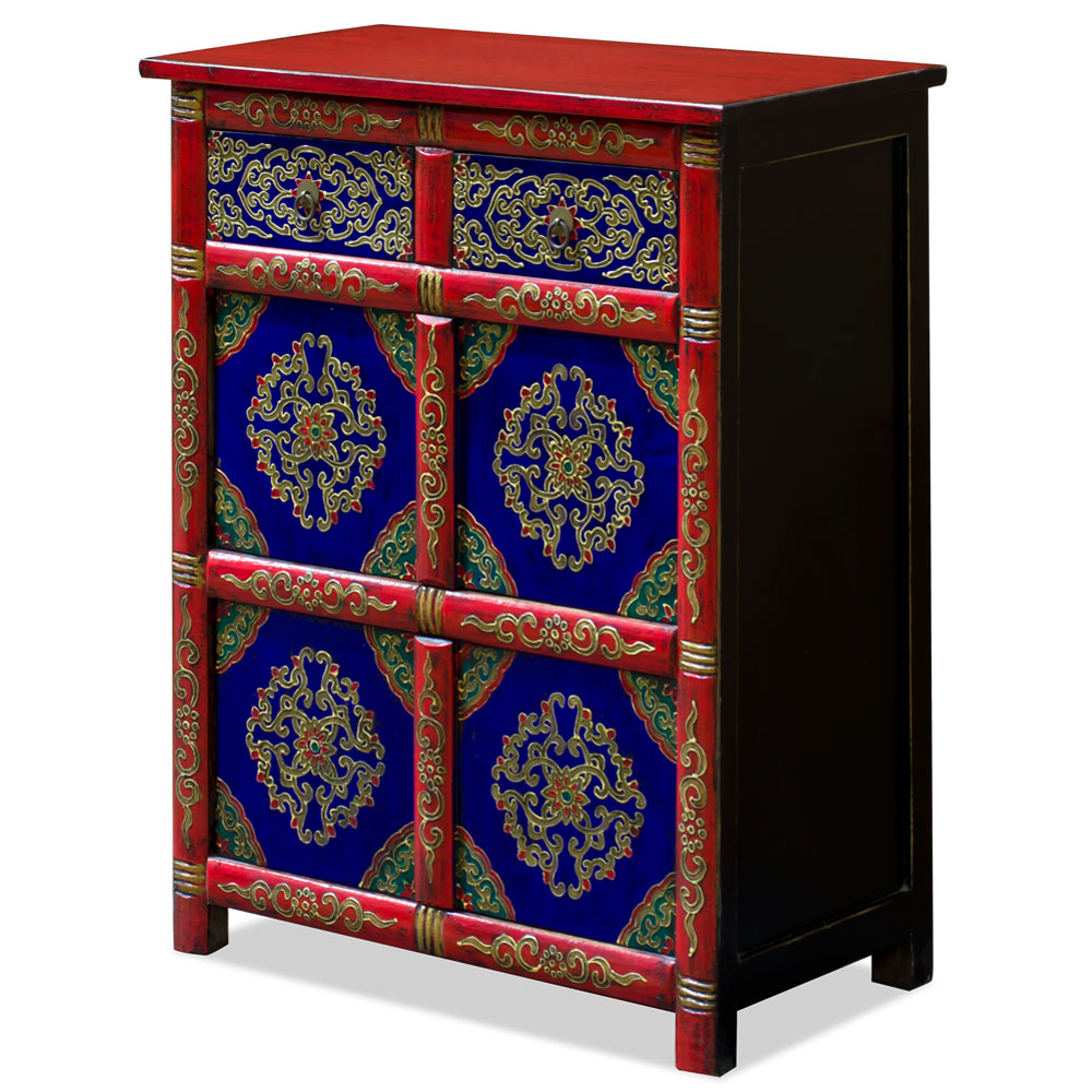 Hand Painted Red and Blue Floral Motif Tibetan Storage Chest