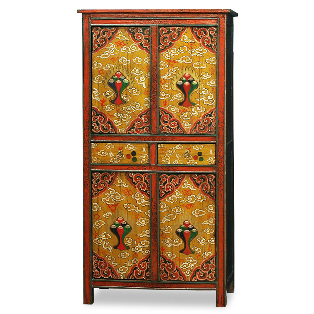 Hand Painted Tibetan Tall Cabinet