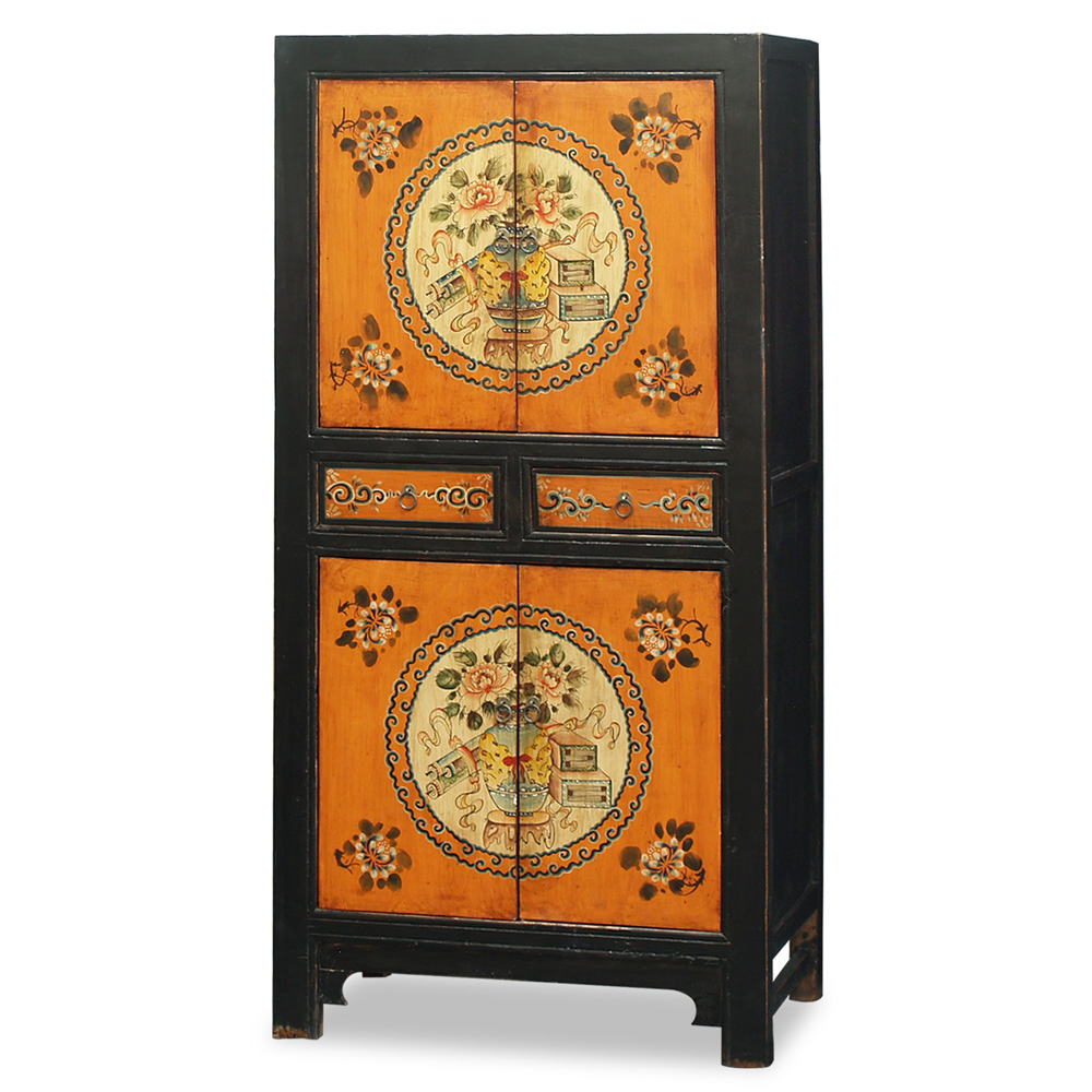 Hand-Painted Tibetan Armoire