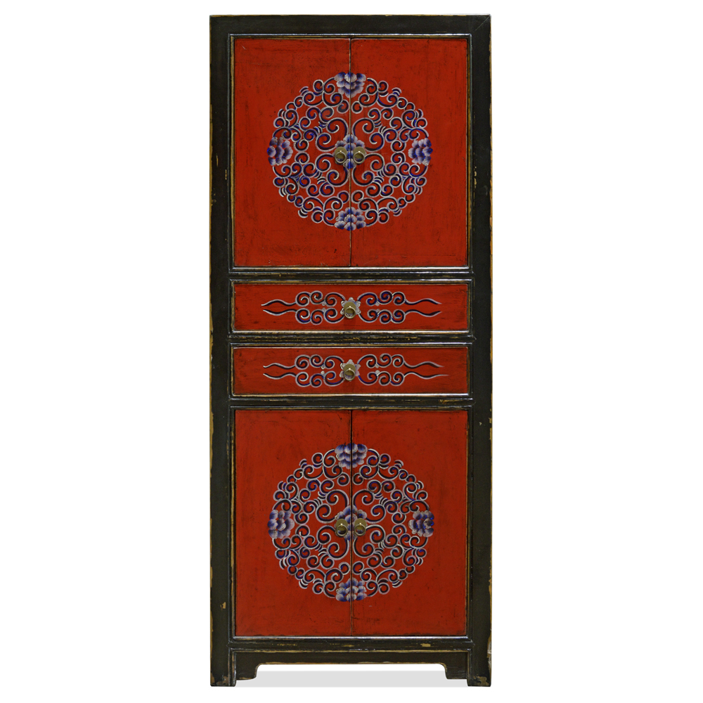 Black and Red Elmwood Tibetan Tall Storage Cabinet