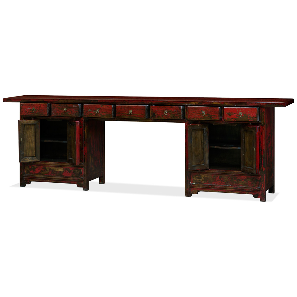 Distressed Red Elmwood Ming Palace Console Table with Cabinets