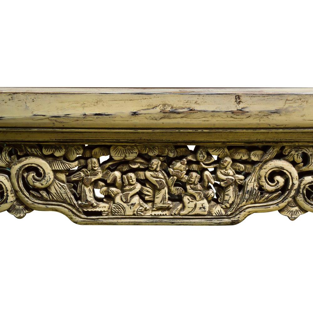 Vintage Ivory Lattice Trim Elmwood Oriental Mirror
