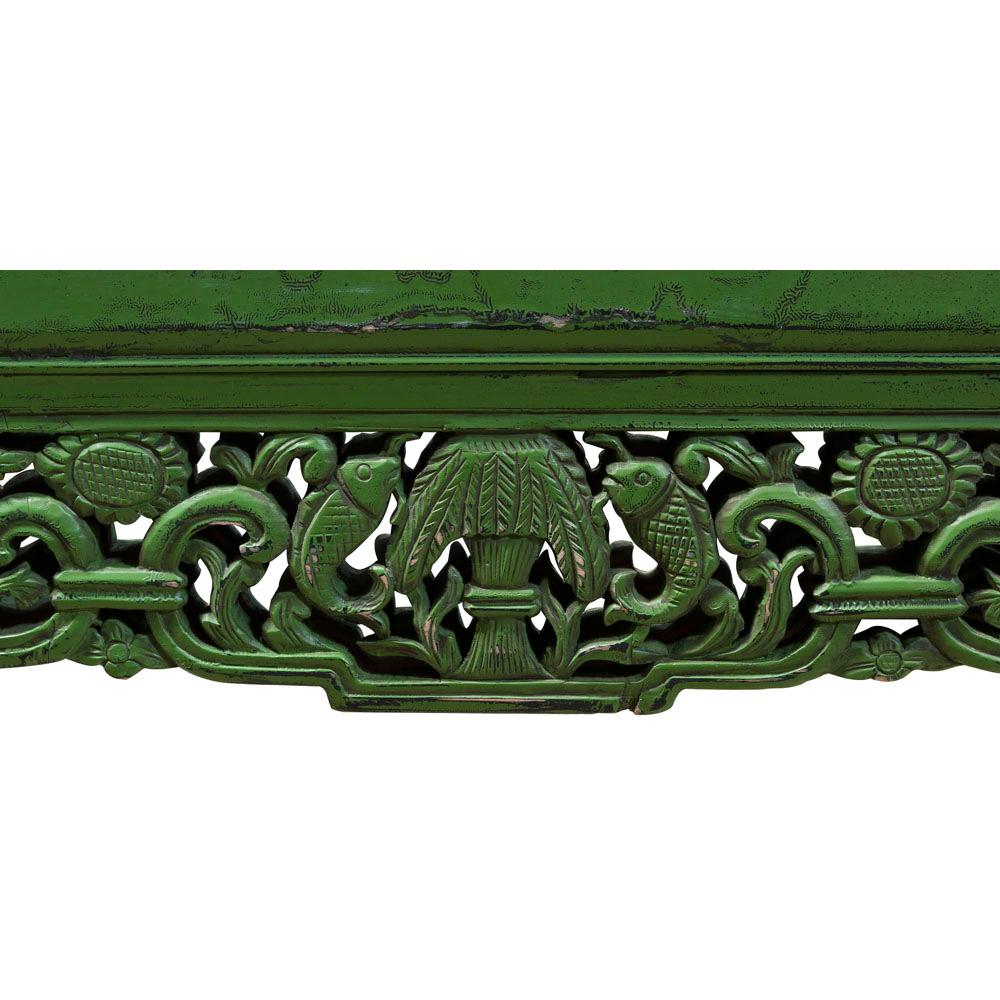 Vintage Emerald Lattice Trim Elmwood Oriental Mirror