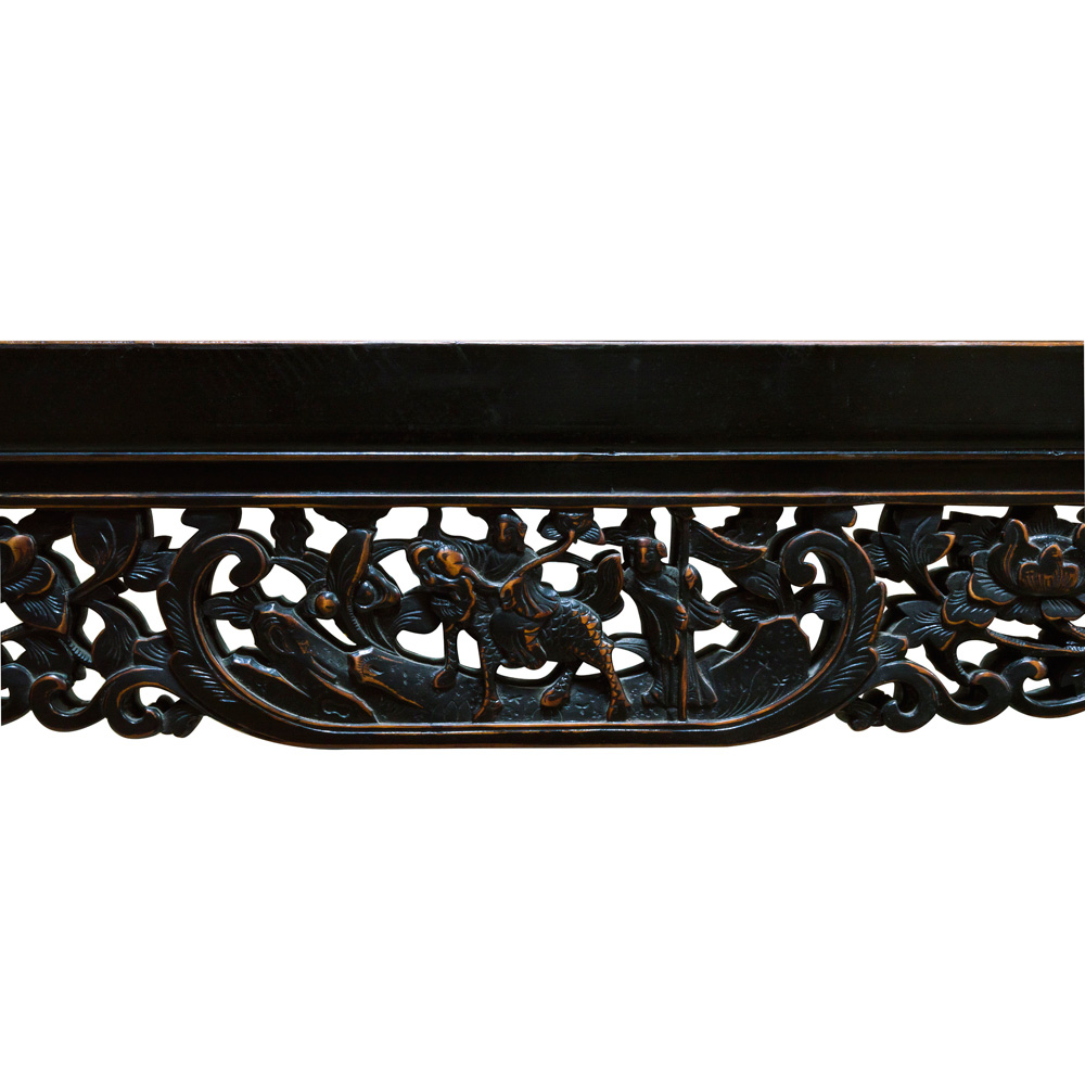 Vintage Black Lattice Trim Elmwood Asian Mirror