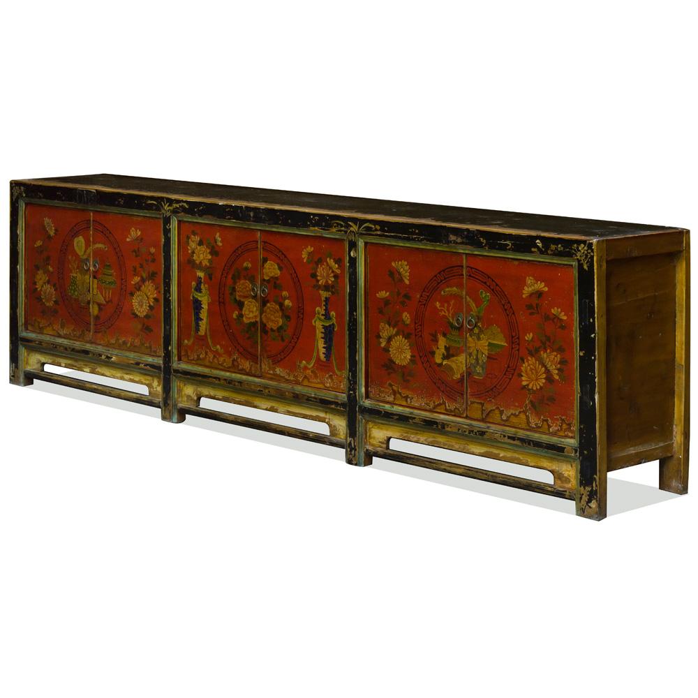 Vintage Elmwood Chalin Tibetan Cabinet