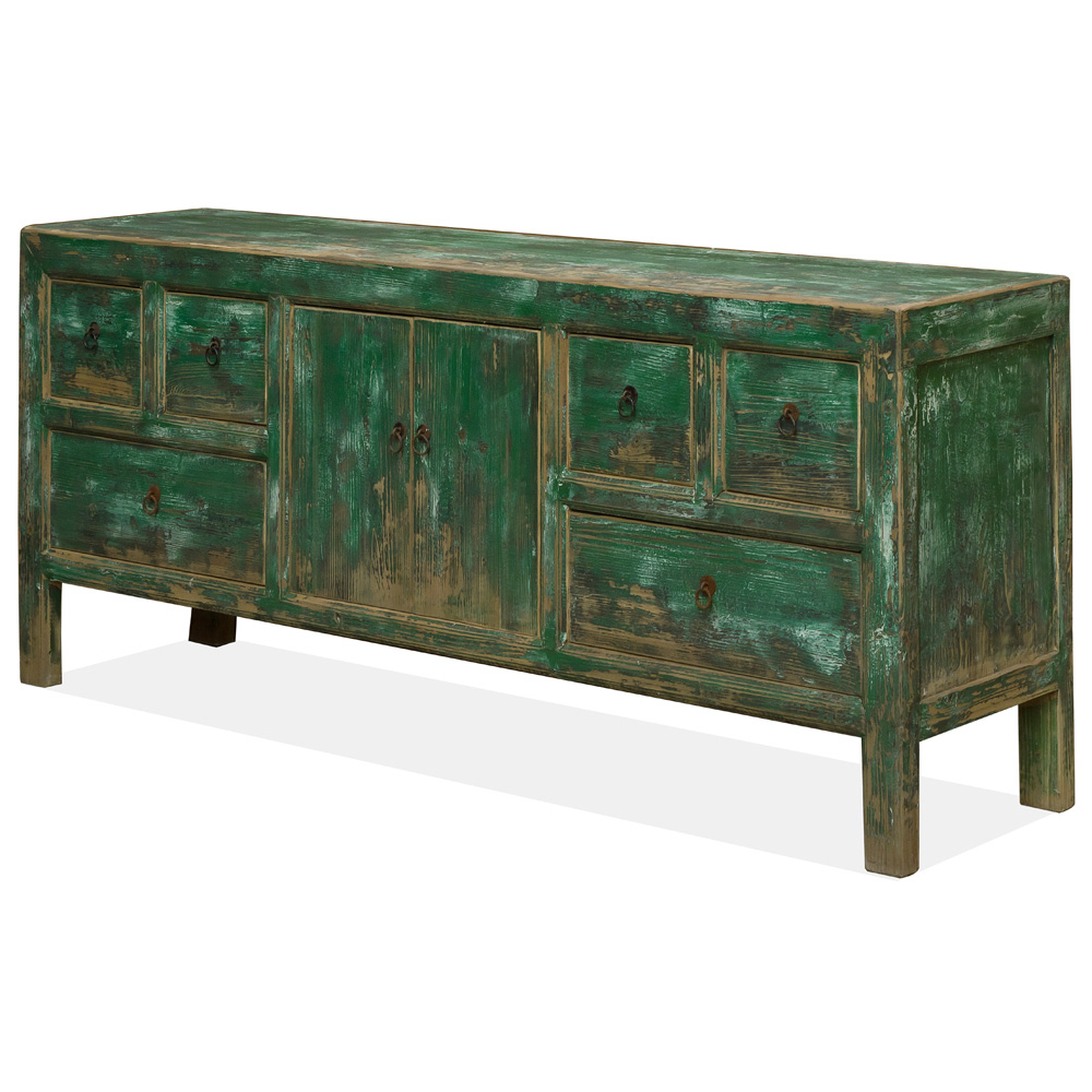 Vintage Elmwood Distressed Teal Kang Cabinet