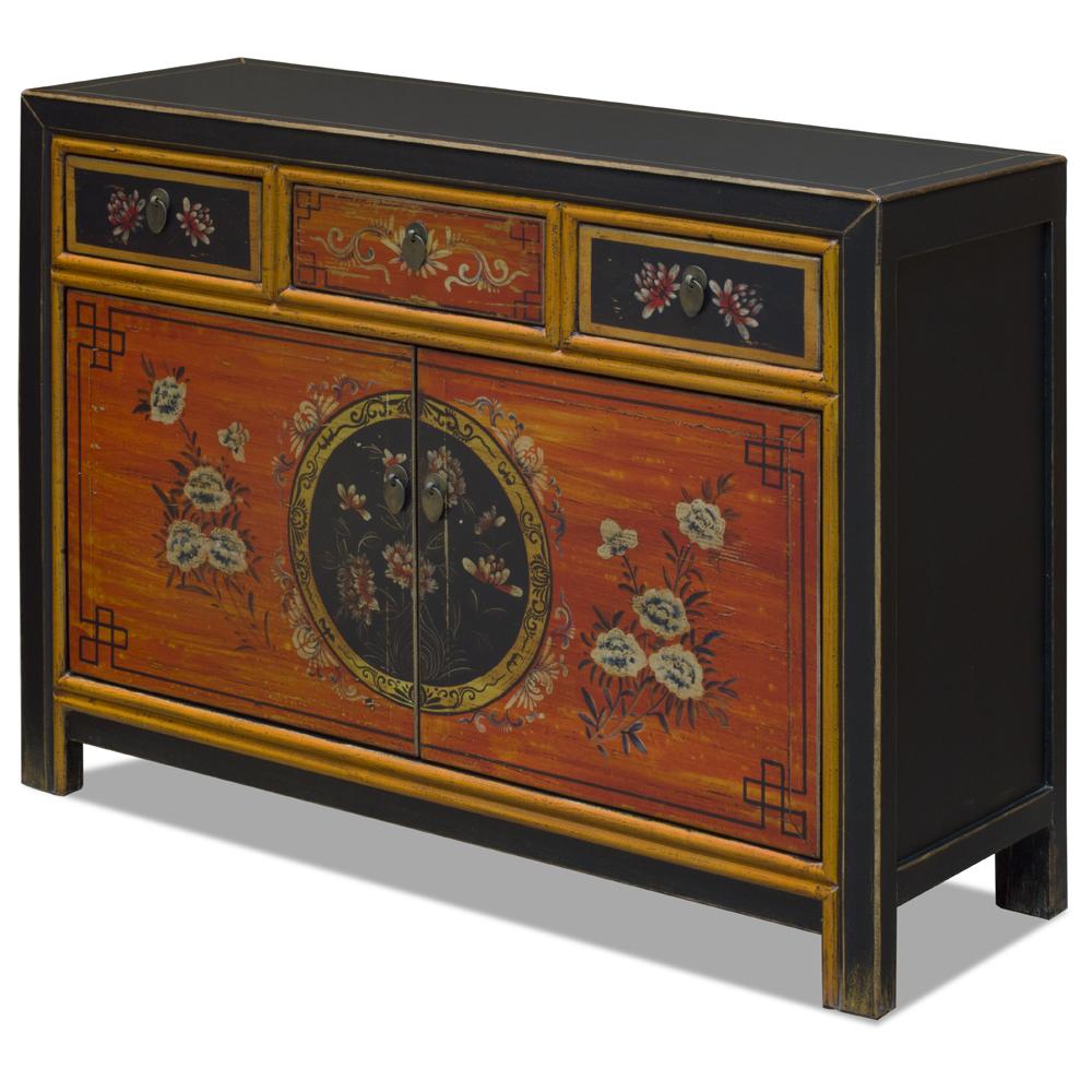 Elmwood Peony Flower Tibetan Cabinet