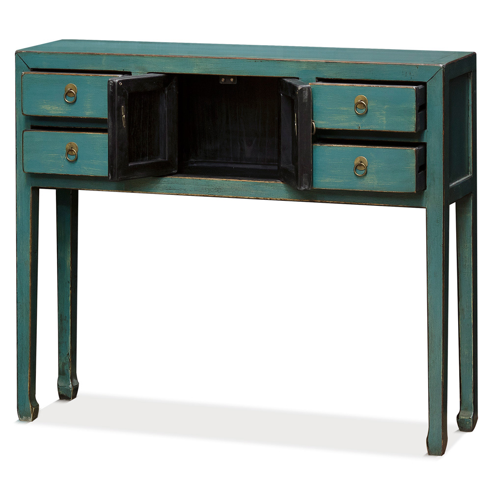Distressed Teal Blue Elmwood Petite Oriental Console Table