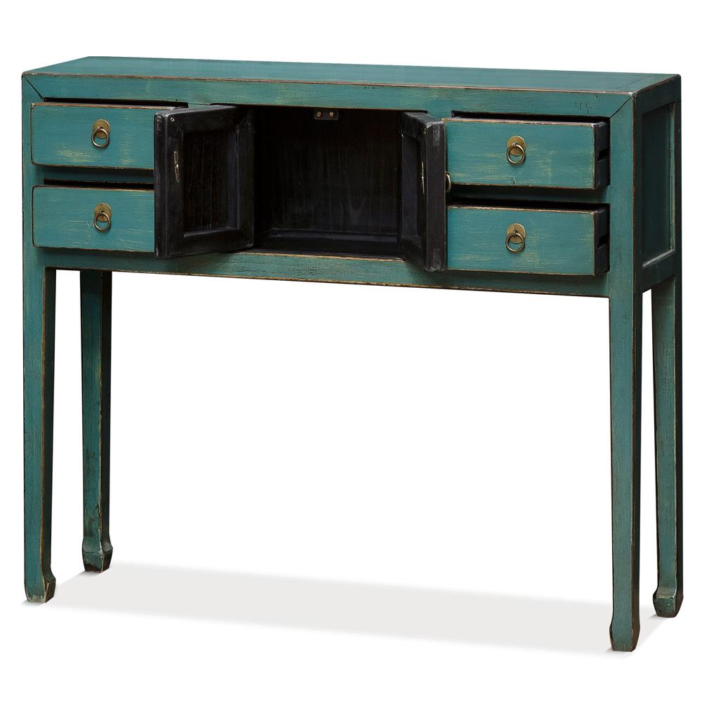 Distressed Teal Blue Elmwood Petite Oriental Console Table