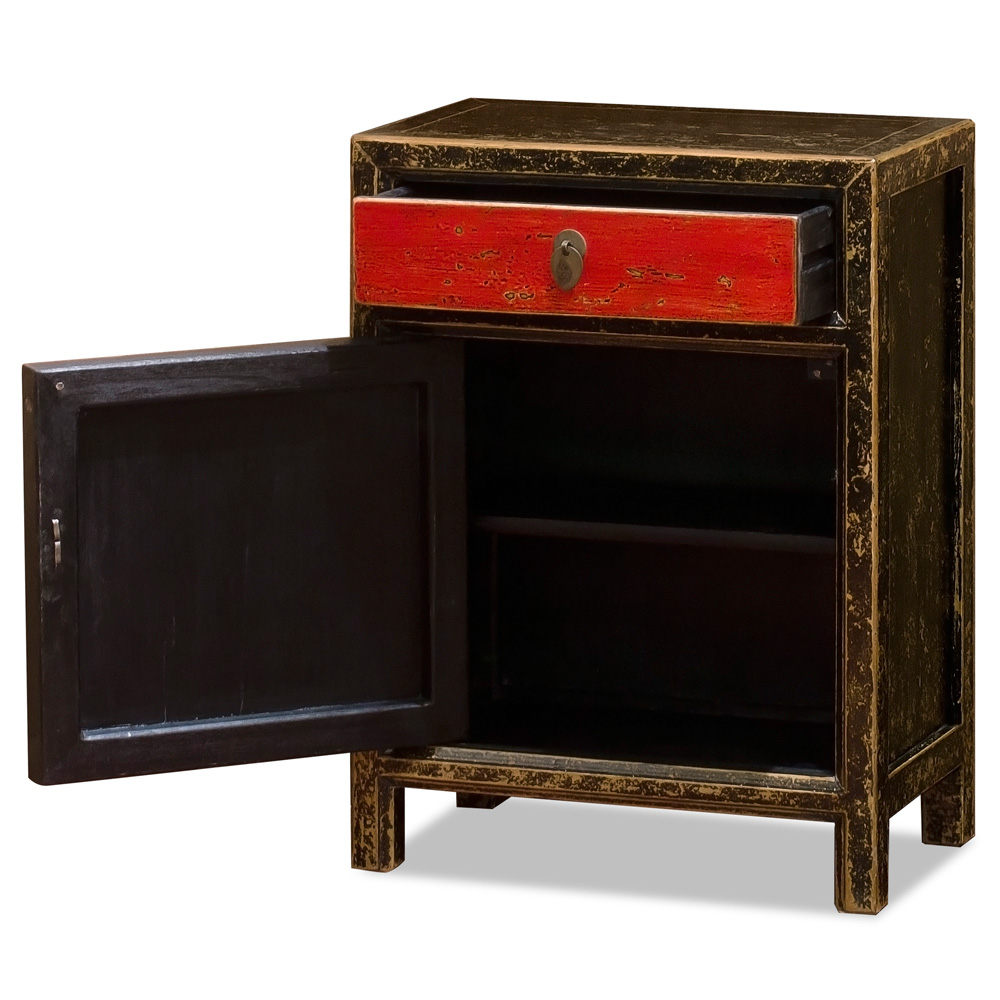 Distressed Black and Red Elmwood Petite Peking Cabinet