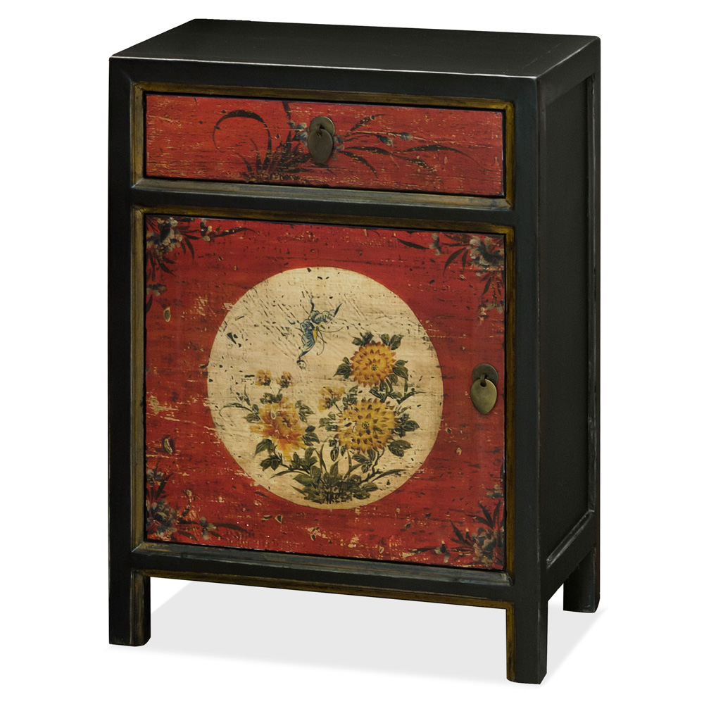 Distressed Red and Black Petite Elmwood Tibetan Cabinet with Floral Still Life