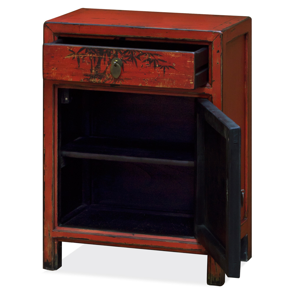 Petite Elmwood Still Life Red Tibetan Cabinet