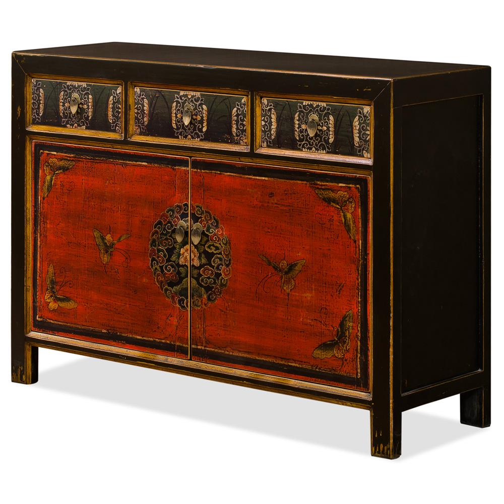 Elmwood Tibetan Masay Butterfly Motif  Cabinet