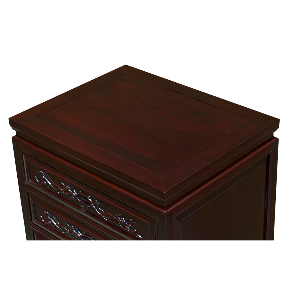 Dark Cherry Elmwood Flower and Birds Oriental Nightstand with 3 Drawers