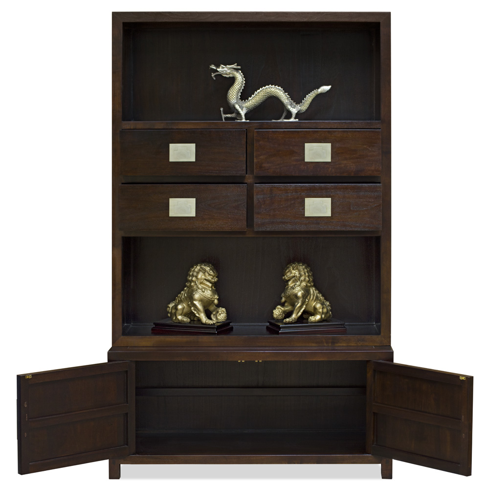 Espresso Elmwood Zen Style Asian Bookcase