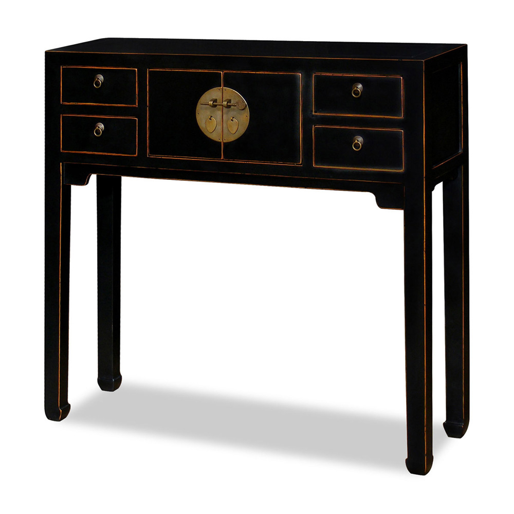 Distressed Black Petite Elmwood Mandarin Console