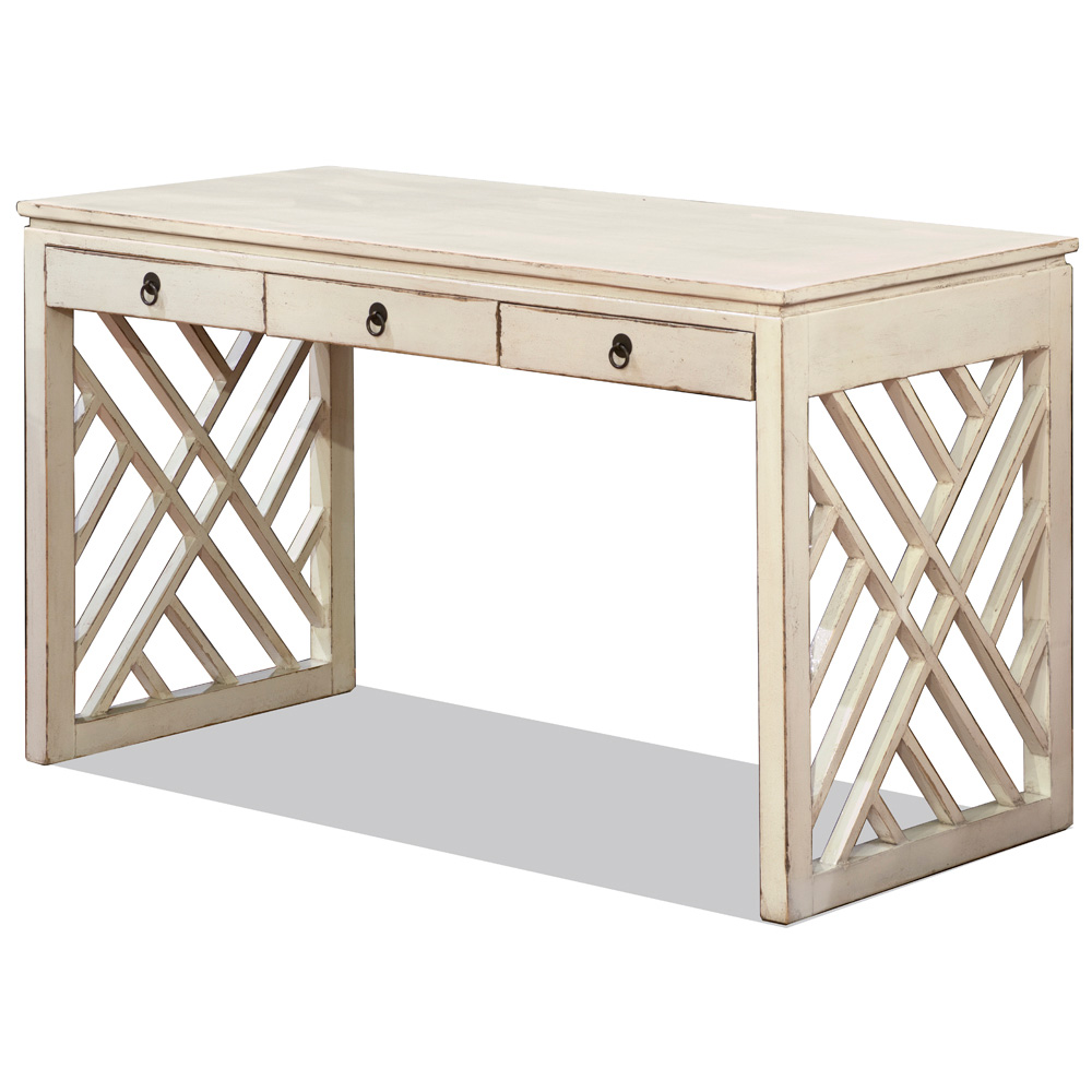Distressed White Elmwood Mandarin Desk