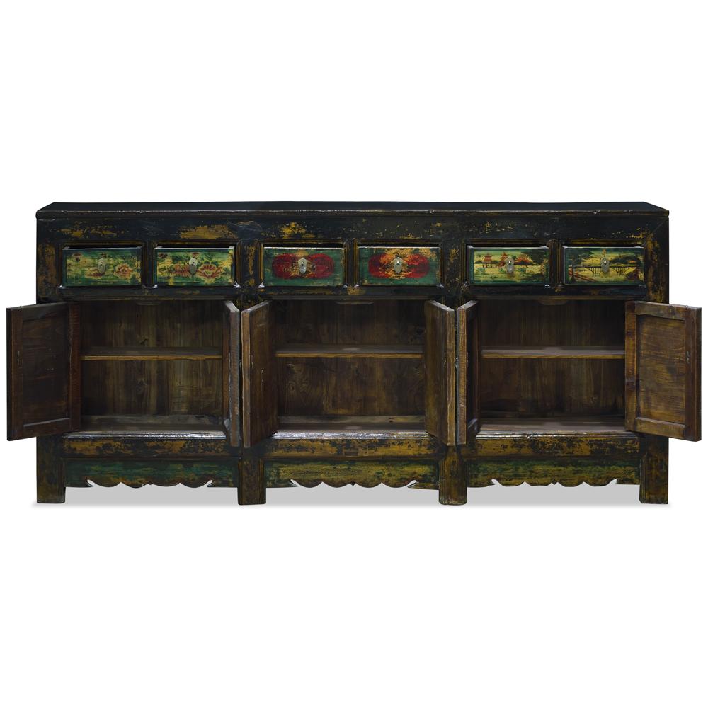 Vintage Elmwood Qing Hai Oriental Cabinet