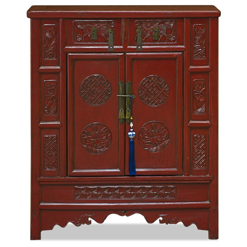 Vintage Elmwood Peking Palace Chinese Cabinet