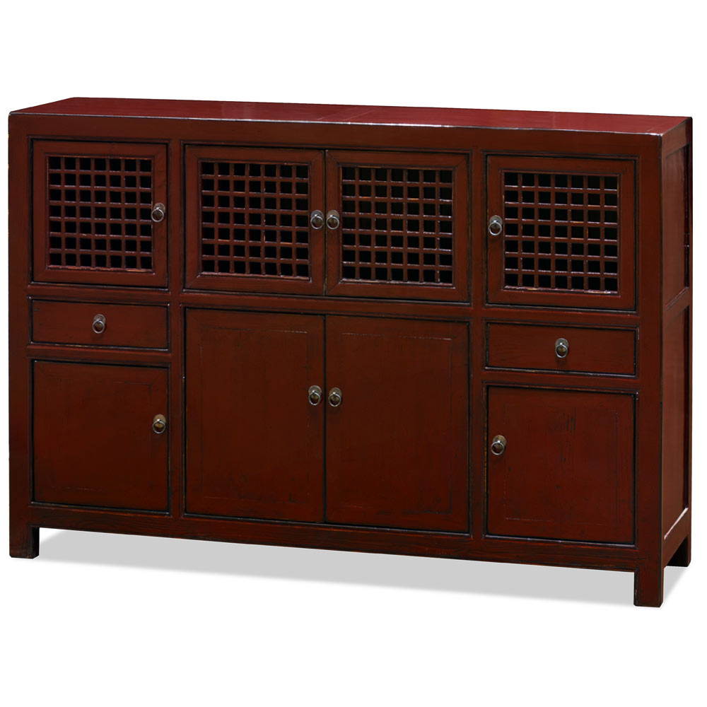 Distressed Dark Red Elmwood Chinese Mandarin Cabinet