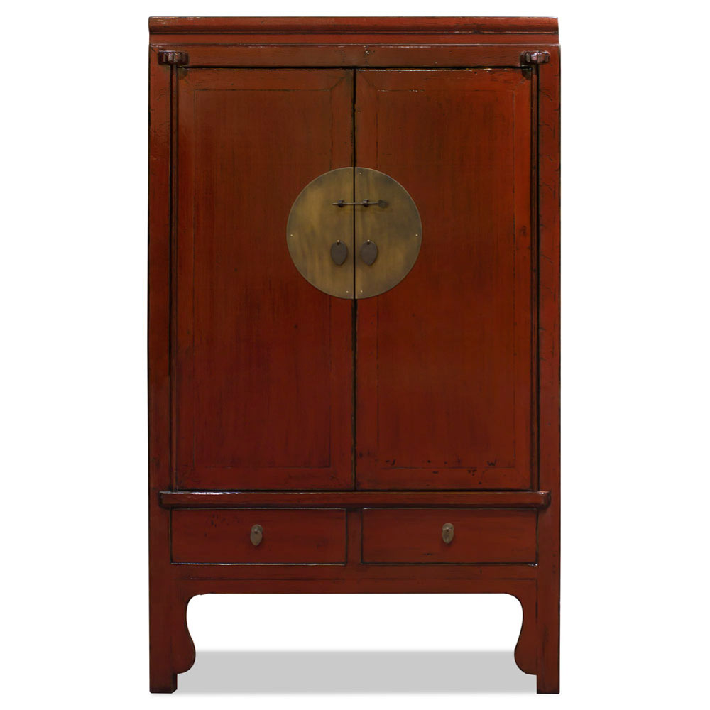 Distressed Rustic Red Elmwood Chinese Ming Wedding Armoire