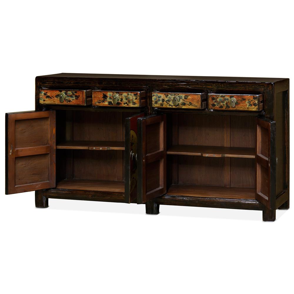 Hand Painted Elmwood Tibetan Cabinet