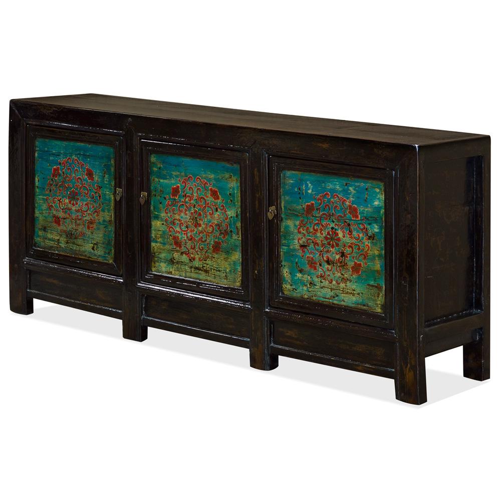 Vintage Elmwood Monuai Tibetan Cabinet