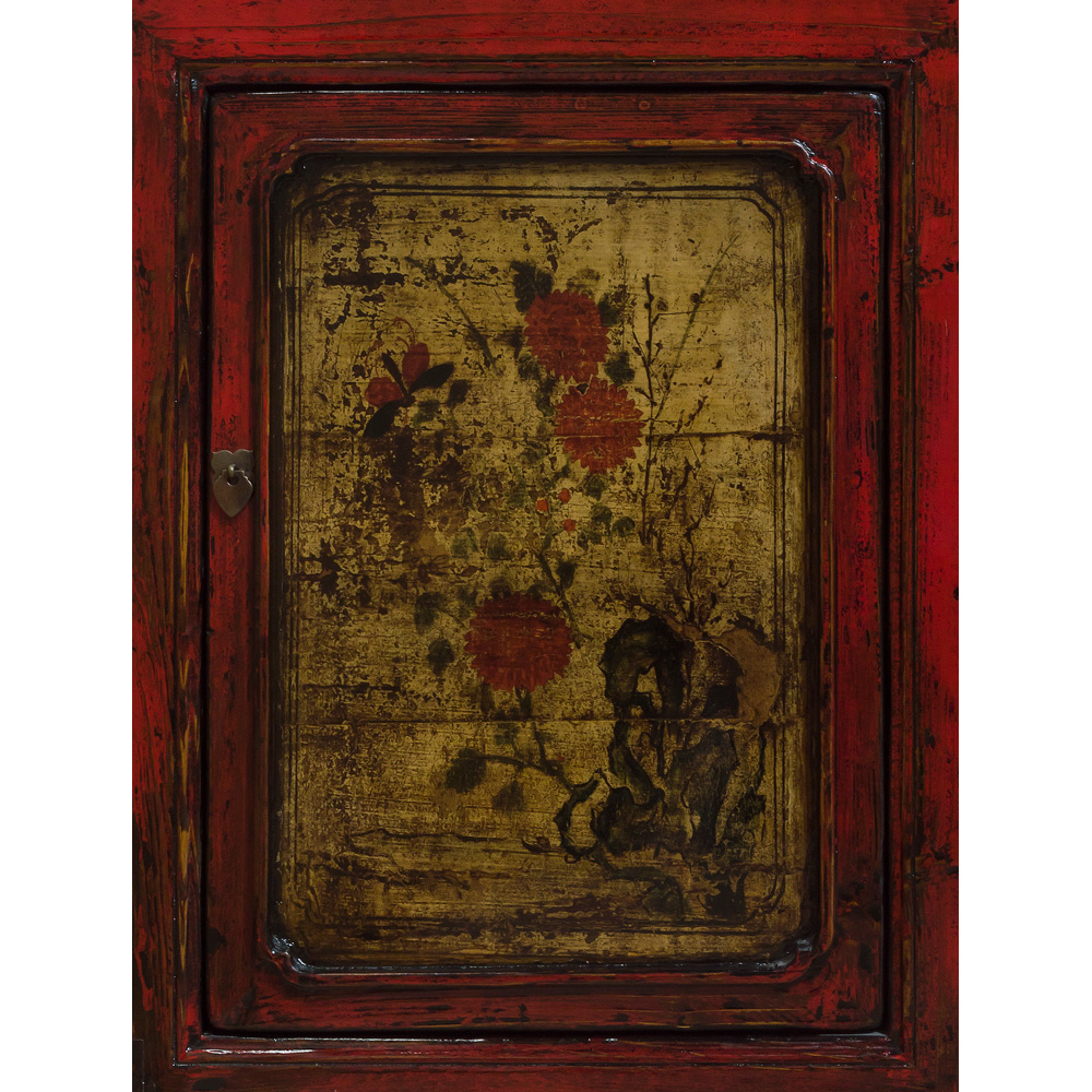 Elmwood Peony Still Life Tibetan Cabinet
