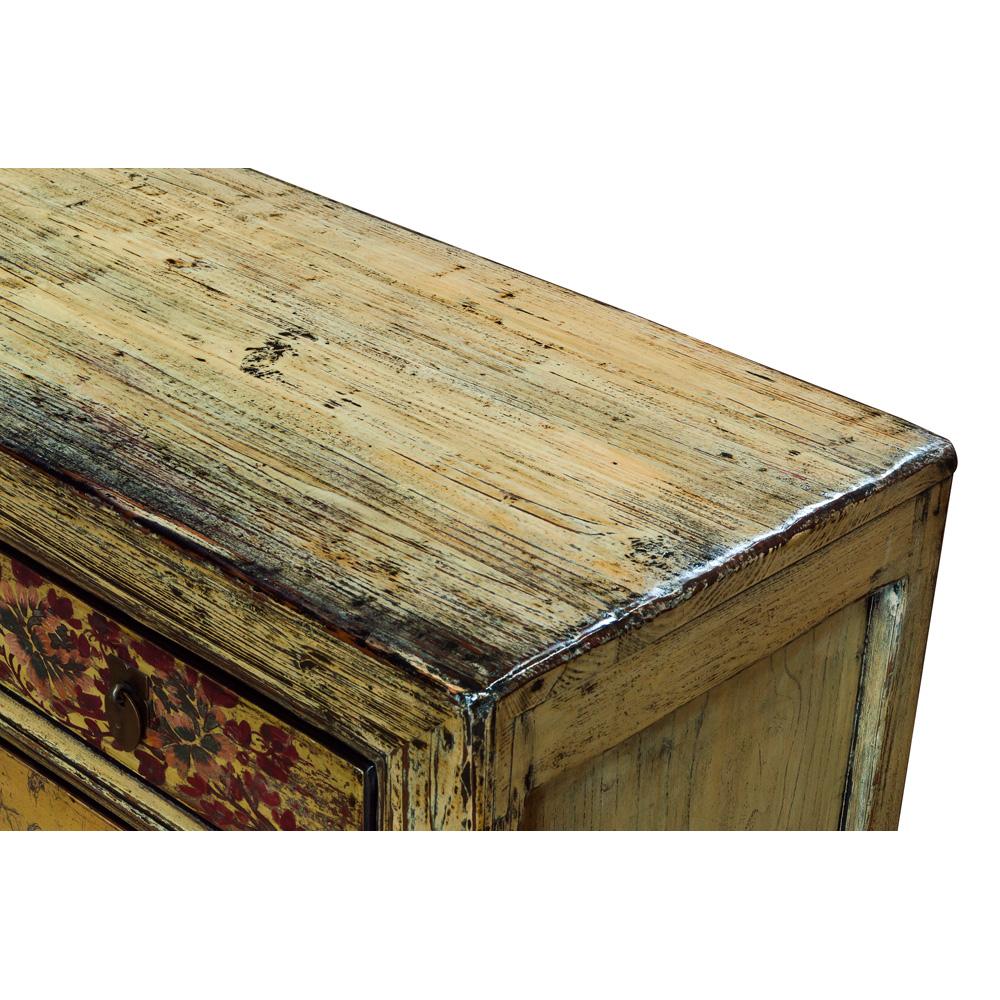 Vintage Chiffon Yellow Elmwood Tibetan Cabinet