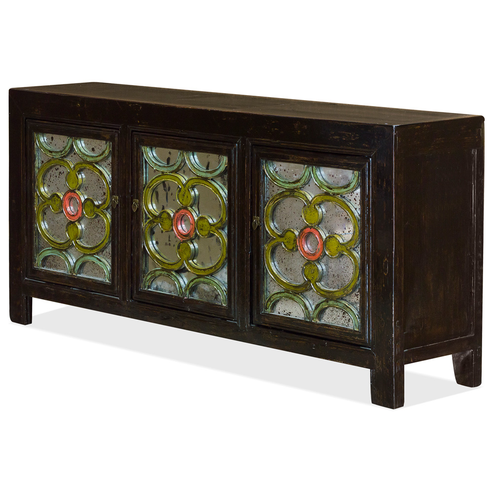 Vintage Elmwood Celtic Motif Mirrored Cabinet