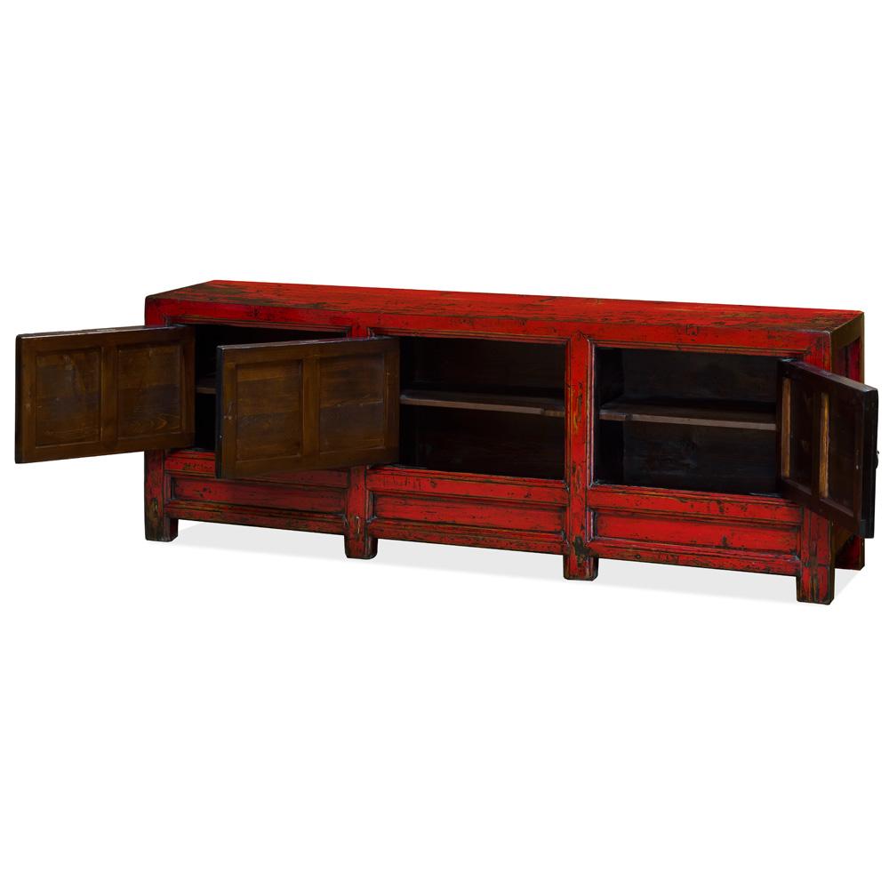 Vintage Elmwood Tibetan Sideboard