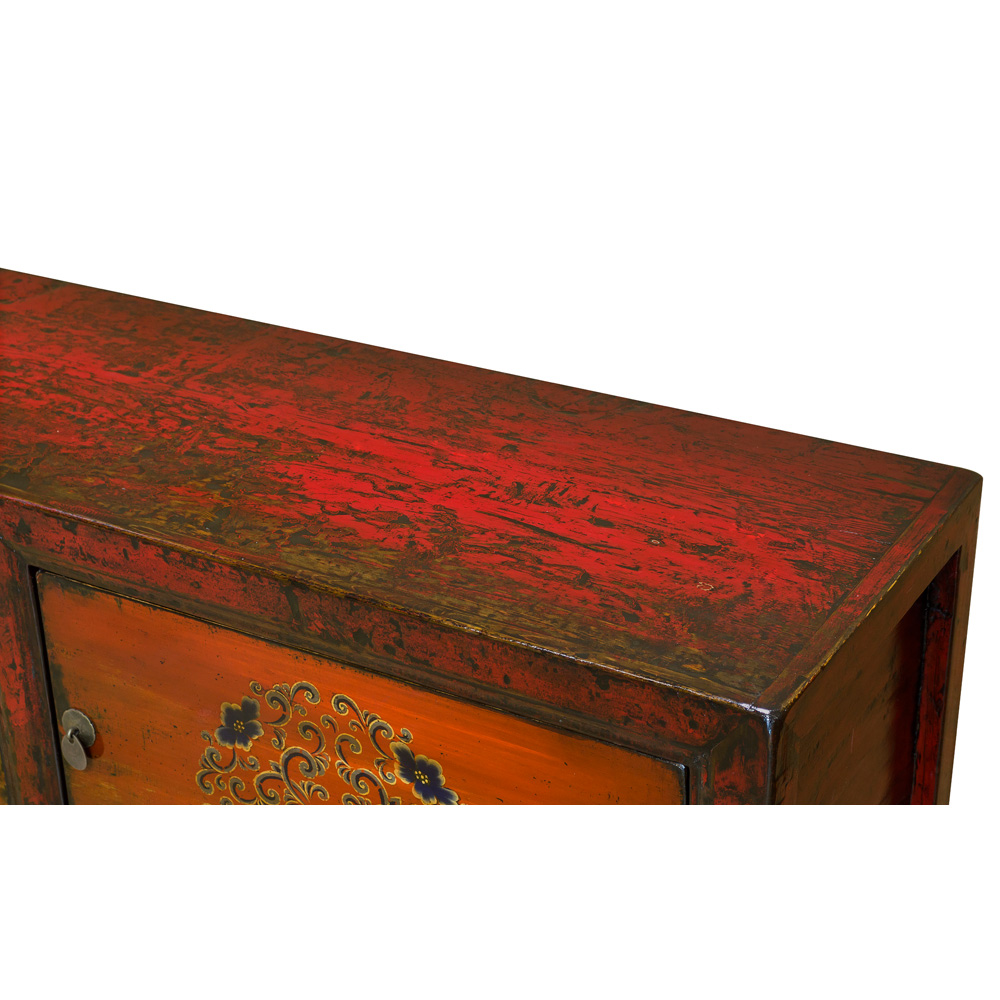 Grand Vintage Tangerine Elmwood Yan Yan Tibetan Media Cabinet
