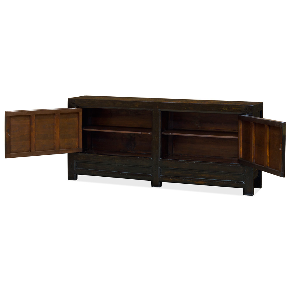 Vintage Dark Brown Elmwood San Guo Sideboard with Red and Yellow Doors