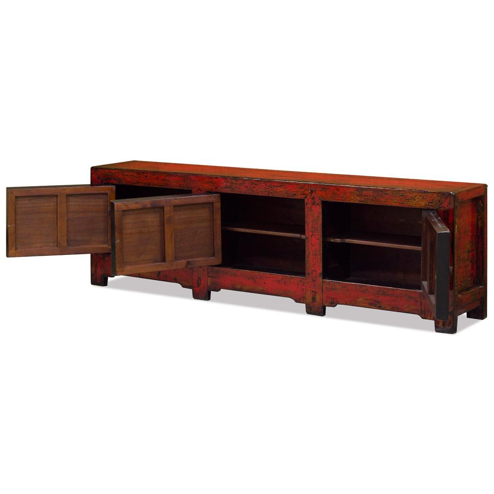 Vintage Elmwood Peony Tibetan Media Cabinet