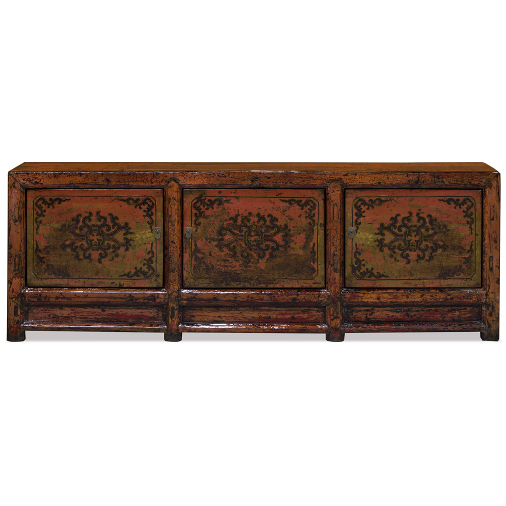 Vintage Orange Elmwood Tibetan Sideboard