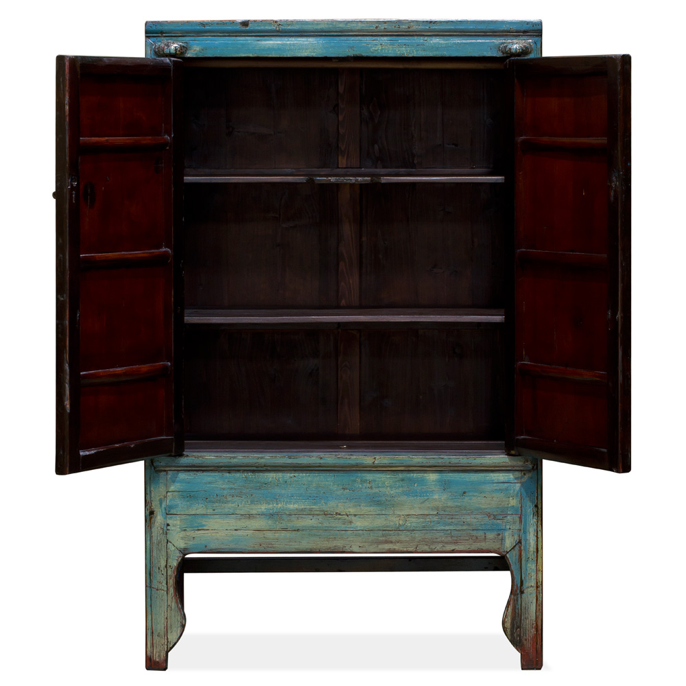 Vintage Blue Elmwood Chinese Wedding Cabinet