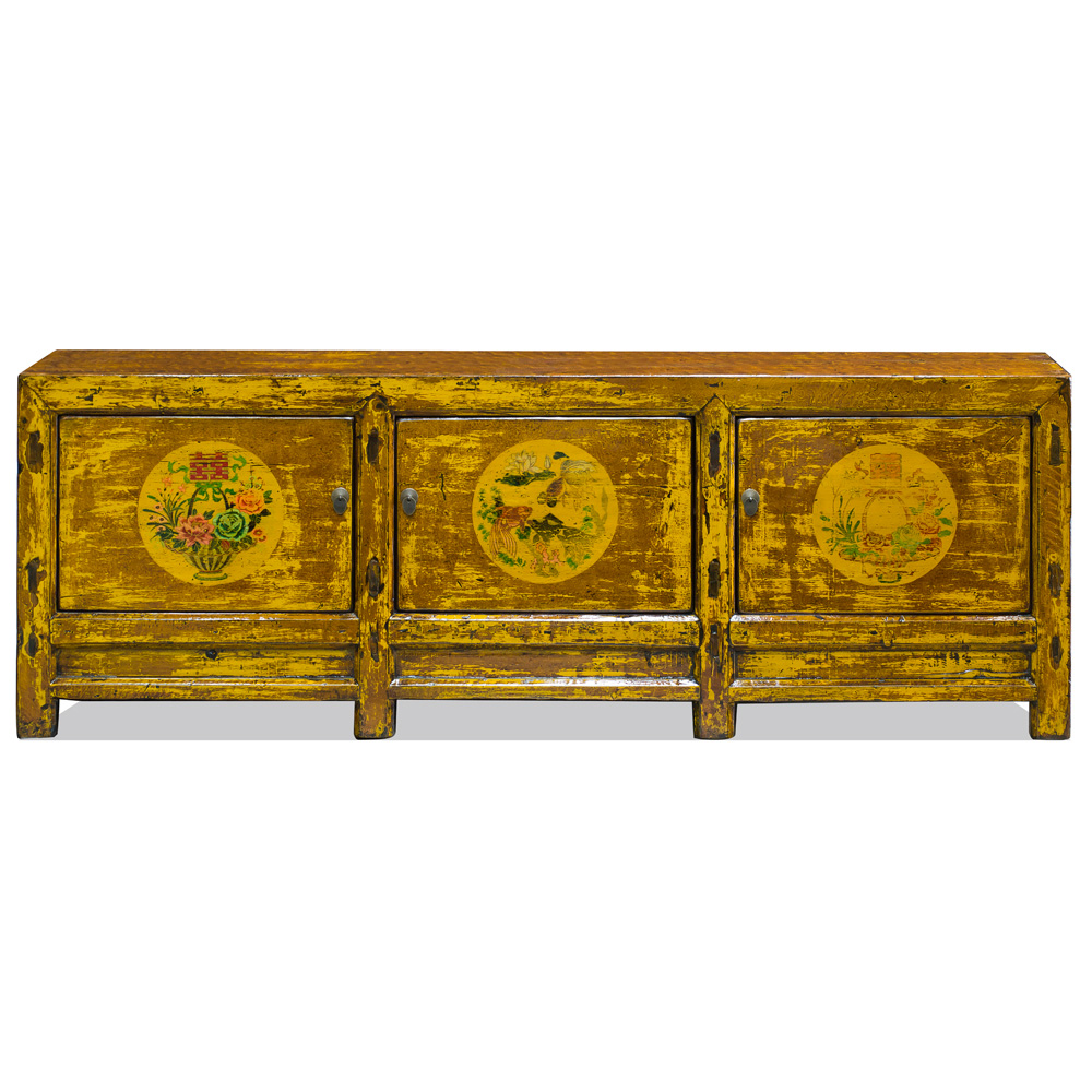 Vintage Yellow Elmwood Tibetan Sideboard